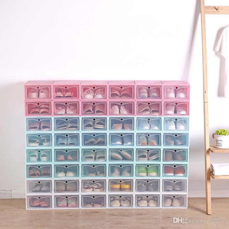 New Transparent plastic shoe storage box Japanese shoe box Thickened flip drawer box shoe storage organizer