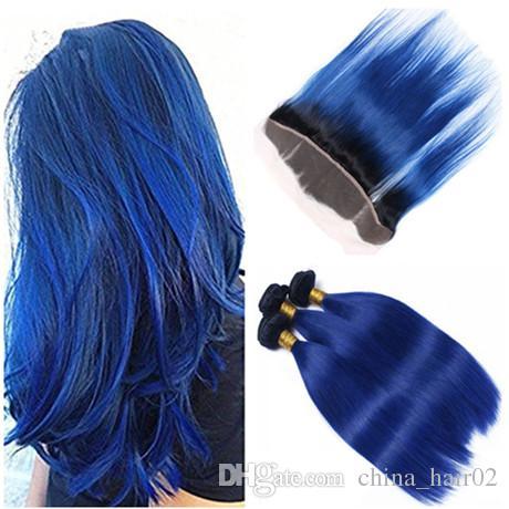 # 1B / الأزرق الداكن الجذر أومبير العذراء الإنسان الشعر حزم مع أمامي مستقيم الظلام الأزرق أومبير الشعر الهندي ينسج مع الدانتيل أمامي إغلاق 13x4