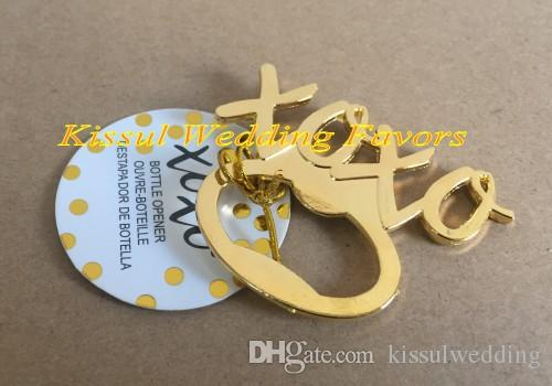 (30 Pieces/lot) Gold wedding souvenirs gift of XOXO Gold Bottle Opener Party favors for wedding door gift and Bridal favors