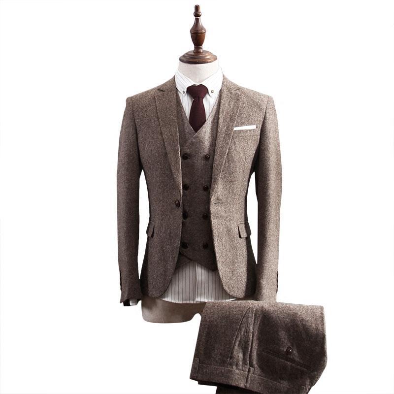 الصوف يتأهل الدعاوى زفاف العريس البدلات الرسمية متعرجة رفقاء العريس أفضل رجل prom الدعاوى (سترة + سروال + سترة) مخصص زائد الحجم