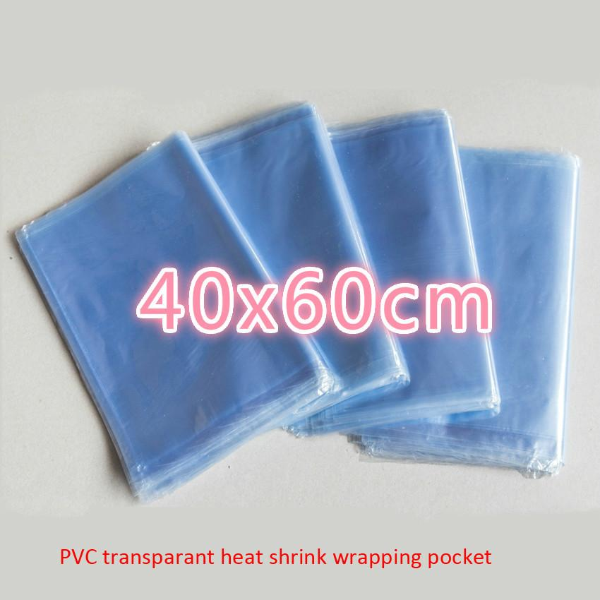 100pcs/lot 40x60cm PVC Heat Shrink Wrapping Bag Retail Seal Packing sack Clear Plastic Polybag Gifts TOYs Packaging Pouch