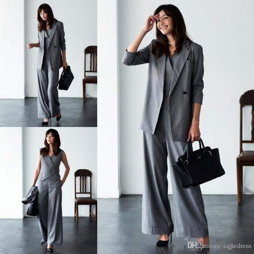 New Mother Of The Bride Pant Suits For Wedding Grey Three Pieces Long Sleeve Women Suits Plus Size Evening wear Gowns