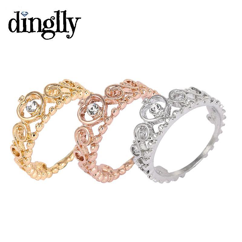 DINGLLY Classic 3 Color (Couleur Or, Couleur Argent, Or Rose) Bague Princesse Crown Bijoux Pour Femmes