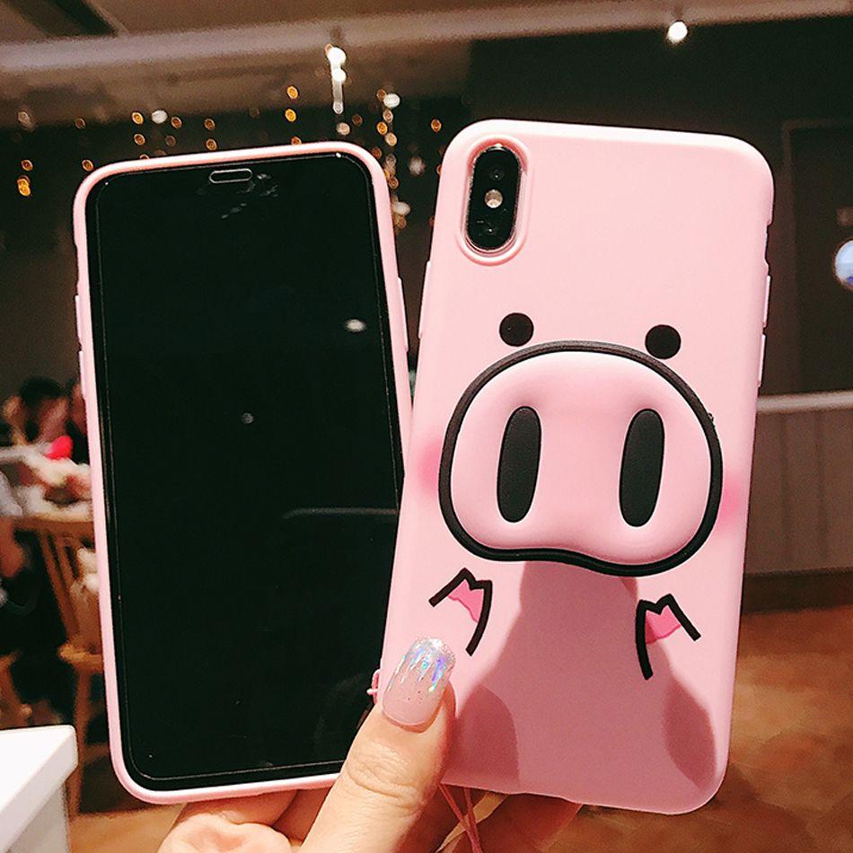 Mode niedlichen rosa case für iphone x 7 plus xs case silikon telefon stehen inhaber abdeckung für iphone 6s 8 6 plus xs max case schwein lanyard