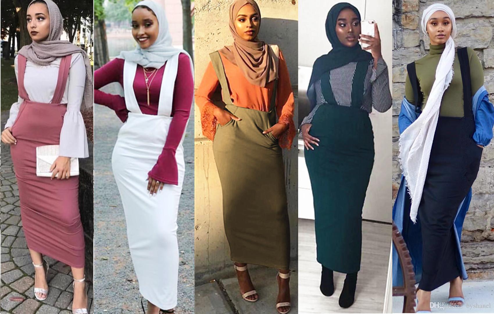 varios tipos de nueva estilos venta de liquidación Compre Tallas Grandes Faldas Mujer Moda 2018 Abaya Musulmán Árabe Dubai  Larga Cintura Alta Maxi Bodycon Suspender Falda Tirantes Faldas Para Mujer  A ...