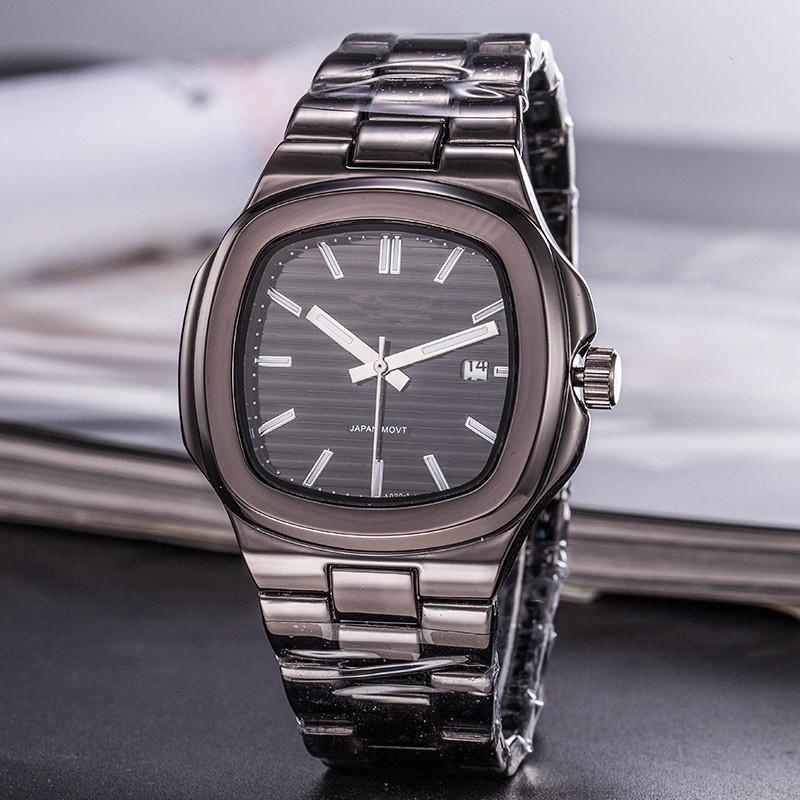 Mens Watch automatique Noir Date Montres cadran carré quartz en acier inoxydable Montres-bracelets Horloge Cadeaux Heures mâles Reloj