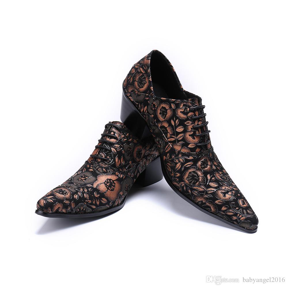 Mode Höhe zunehmende Männer Oxford Schuhe Floral Echtleder Männer Brogue Schuhe Hochzeit Prom Dress Schuhe Lace Up