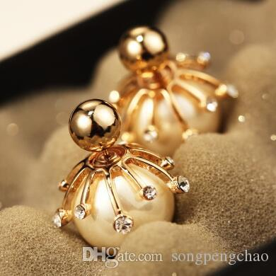 Big Pearl Stud Earrings for Women Fashion Jewelry Gold / Platinum plating Double Sided Earrings Accessories Korean Party