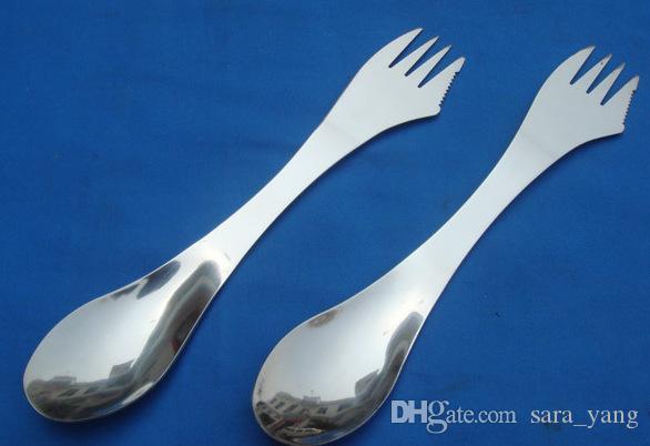 Livraison gratuite fourchette cuillère spork 3 en 1 vaisselle vaisselle ustensiles de cuisine en acier inoxydable combo Cuisine pique-nique en plein air scoop / couteau / fourchette ensemble