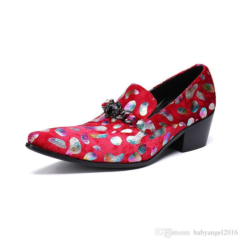 6cm High Heel Herren Kleid Schuhe Drucken Feder Farben Spitz Hochzeit Schuhe Herren High-Heels Party Lederschuhe