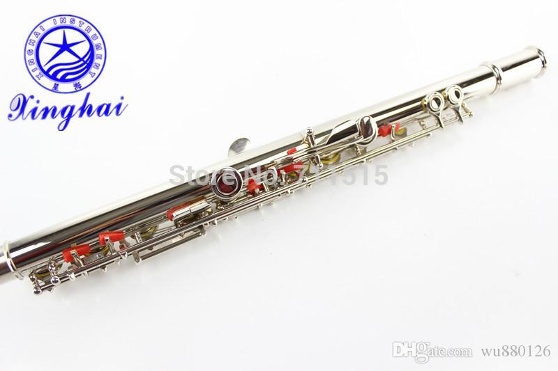 Nuovo Xinghai 16 Fori Chiuso Flute più il tasto E Marchio di qualità Flauto Strumento musicale argento placcato superficie con il caso di trasporto