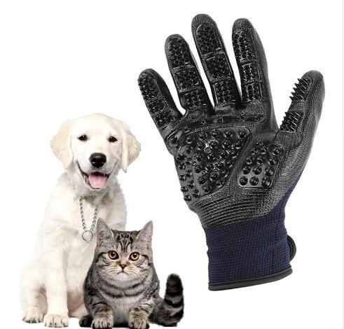 Pet Bakım Eldiven Köpek Kedi Saç Temizleme Fırçası Tarak Siyah Kauçuk Beş Parmaklar Köpek Kediler için Deshedding Pet Eldiven Hayvanlar