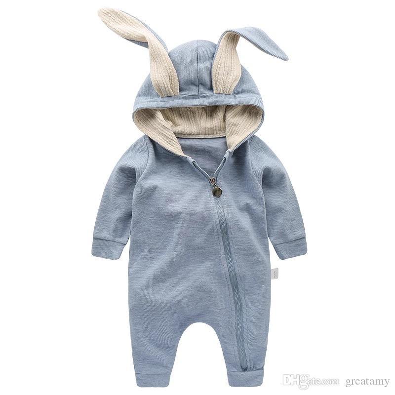 Carino dell'orecchio di coniglio con cappuccio Baby pagliaccetti Per bambini piccoli delle ragazze dei bambini vestiti appena nati Abbigliamento tuta infantile sacchi a pelo del bambino del costume Outfit