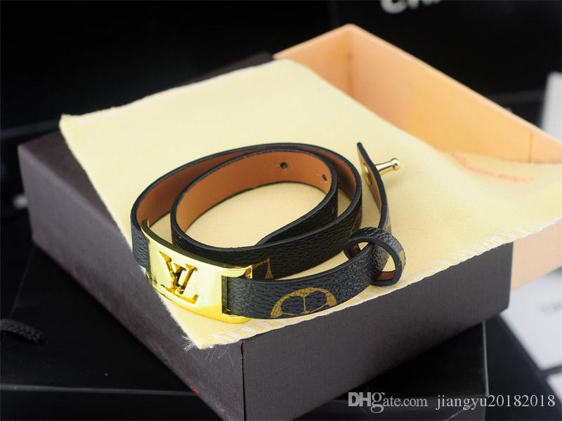 High Quality Celebrity design Fashion show Classic style Women Letter Printing Leather bracelet Bracelets Jewelry With Box