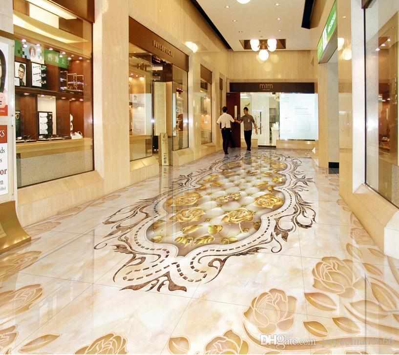 пользовательские 3d напольная плитка мраморная фактура мозаика 3d стереоскопические обои самоклеящиеся 3d напольные фрески обои