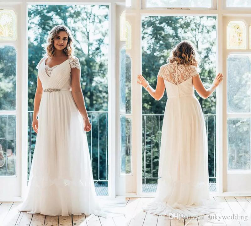 Simple Plus Size Wedding Dresses Floor Length V Neck Cap Sleeve Lace A Line Country Bridal Dress Bead Belt Chiffon Wedding Gowns Cheap