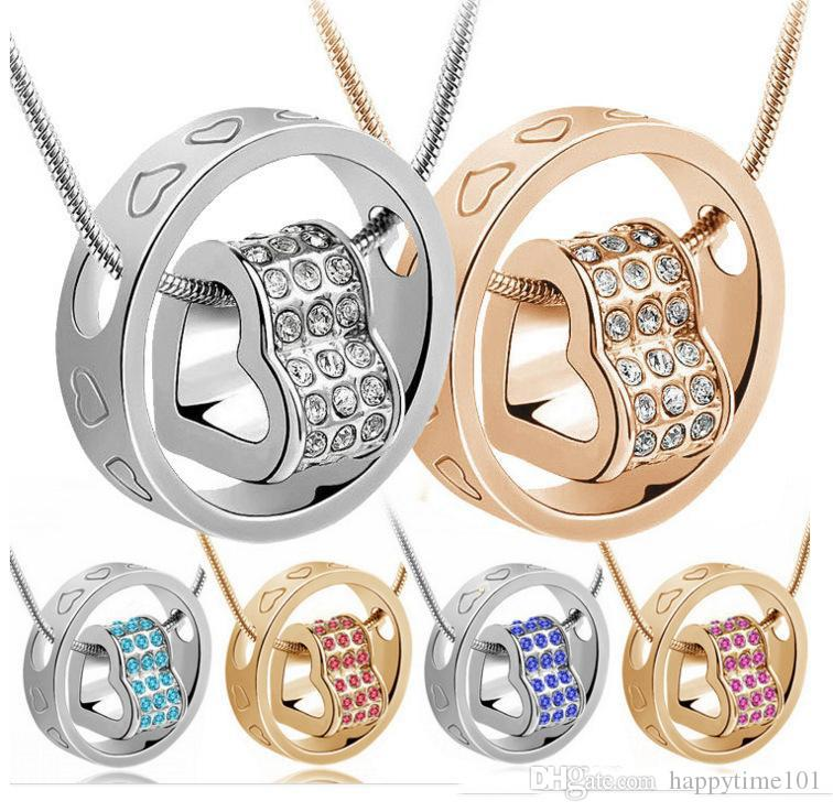 Splendidi ciondoli in cristallo austriaco Diamanti Il ciondolo della fortuna ama la collana con ciondolo Fashion Classic Women Elements Gioielli in cristallo