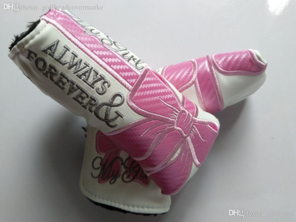 Pink Bowknot Embroidery Golf Putter Club Headcover PU Leather Blade Universal Putter Protective Cover Cute for Lady