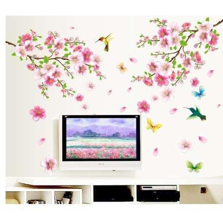 حار بيع ساكورا الزهور ملصقات الحائط التلفزيون خلفية غرفة الأوسمة 9158. diy منزل الشارات للإزالة جدارية الفن طباعة الملصقات 3.5