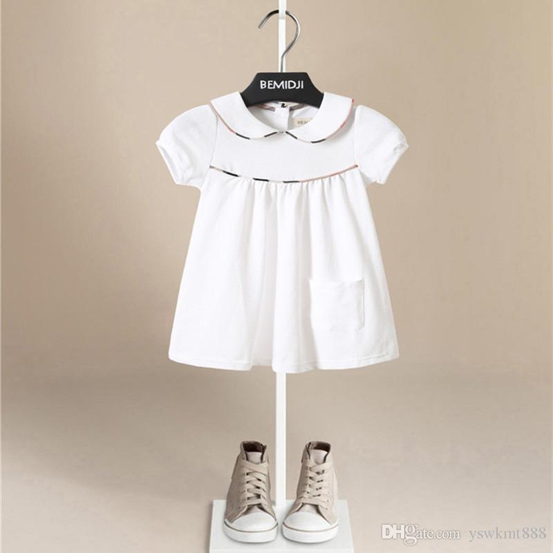 뜨거운 판매 순수한 면화 소녀 단색 복장 사랑스러운 격자 무늬 어린이 패션 캐쥬얼 칼라 아래의 자식 공주님 드레스
