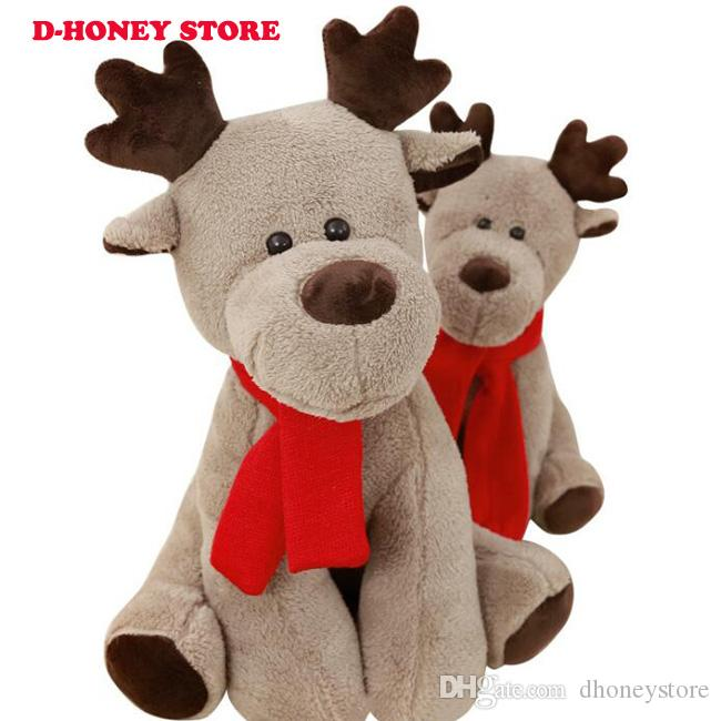 2018 Stuffed Animal Soft Toys Moose Creative Red Scarf Reindeer Plush Doll Kids toy Christmas new year gift toys for children
