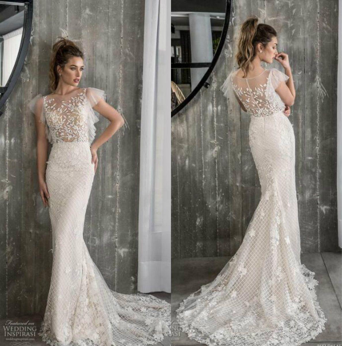 Riki Dalal Mermaid Lace Wedding Dresses Sheer Neck Illusion Bridal Gowns Sweep Train Vestido De Novia Fishnet Wedding Gowns Bridal Party Dresses