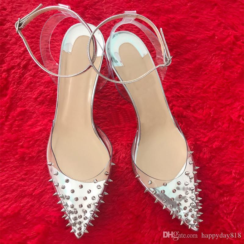 Ücretsiz kargo Moda Kadın Pompaları gümüş rugan Taklidi çivili sivri slingback ayak bileği strappy platformu ayakkabı ince topuklu sandalet