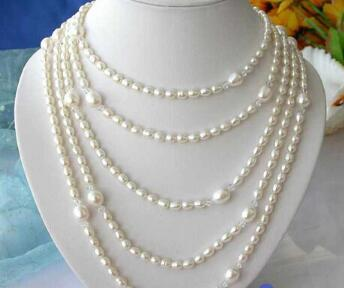 "Free shipping>>@@ AS1687 LONG 100"" 11MM WHITE RICE FRESHWATER CULTURED PEARL NECKLACE"