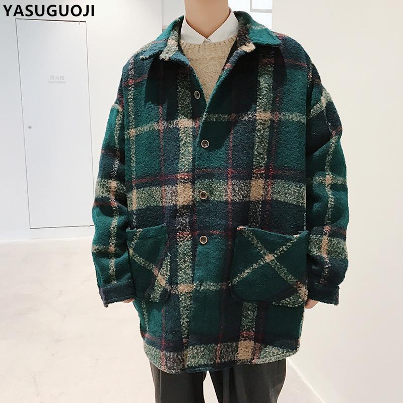 YASUGUOJI New 2018 Fashion Chic Oversize Monopetto Plaid Cappotto Lungo allentato Uomini Outwear Spessore Inverno Cappotto di Lana Uomini NDY16