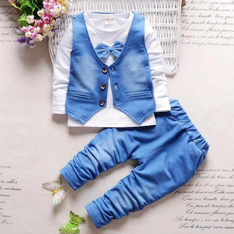 Erkek giysileri moda erkek bebek giyim setleri çocuk Tam giysi + pantolon takım elbise çocuk çocuk giysileri için bebek giyim seti