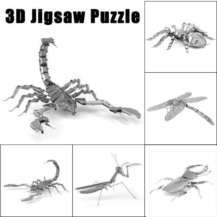 3D 금속 지 그 소 퍼즐 어셈블리 모델 다양 한 곤충 컬렉션 지능 모델 장난감 IQ 교육 완구 어린이 성인 크리스마스 선물