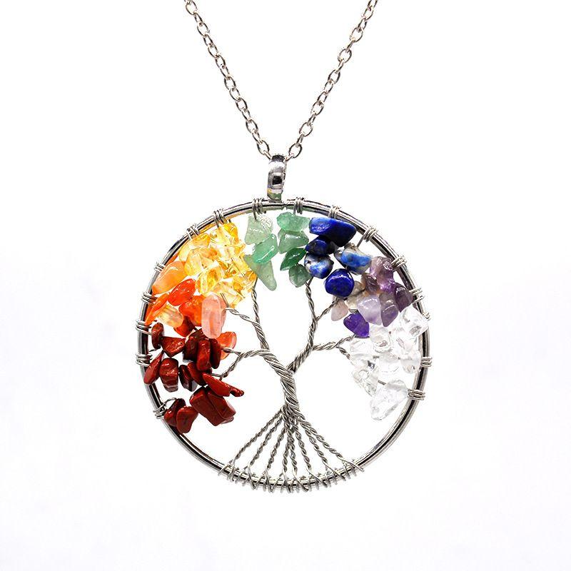 Regenbogen 7 Chakra Baum des Lebens Kristallstein Anhänger Halskette für Frauen Nartual Stein Quantz Perlen Tropfen Fashion Schmuck Großhandel Halskette