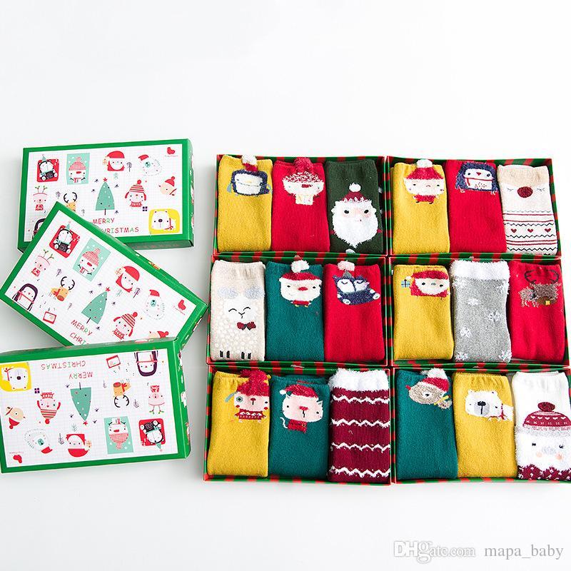 Kids Christmas Stockings Santa Baby Socks Snowman Santa Claus Deer Bird New Year Festival Cotton Socks for Children
