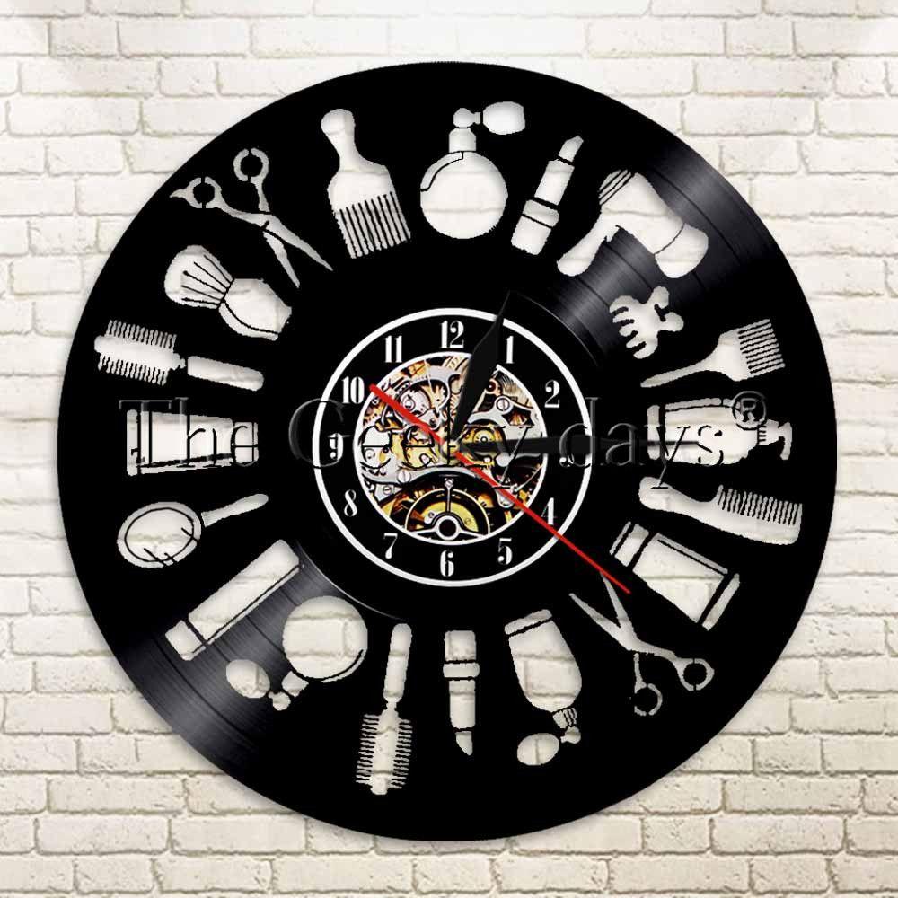 Atacado-1Piece Cabelo Registro Wall Art Relógio Barber Shop Decor Cabeleireiro do salão de beleza presente Handmade Beleza