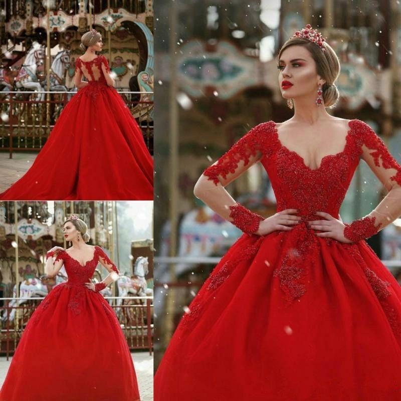 Discount Modest V Neck Long Sleeve Gothic Red Wedding Dresses Plus Size  Train Ball Africa Country Arabic Dubai Vestido De Novia Formal Bridal Gown  ...