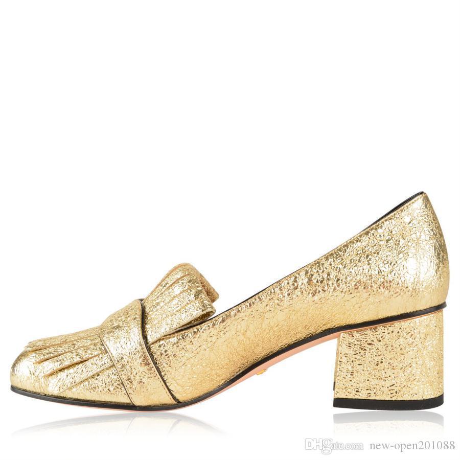Tassels Round Toe Chunky Heels Donna Scarpe Fibbia in metallo Vera pelle Moda Donna Scarpe tacco alto più colori Lady Pompe