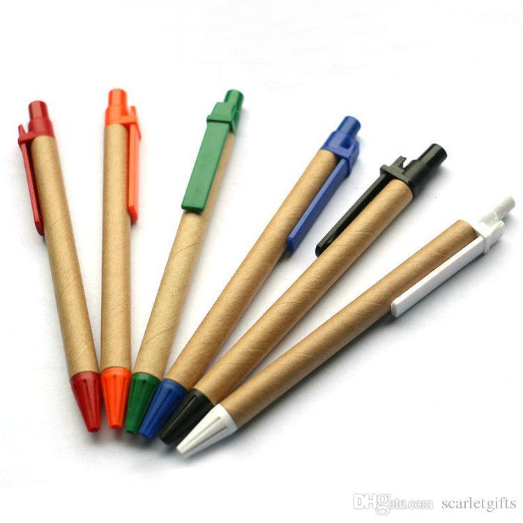 Fábrica Diretamente Barato Dar afastado Personalizado Estoque promocional Marrom Eco Friendly Reciclar papel Feito Caneta Esferográfica Para conjunto de notebook