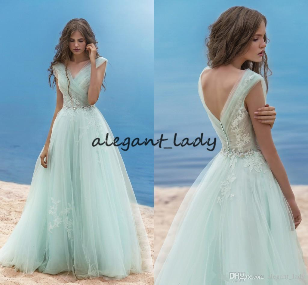 Vintage V-neck Evening Dresses 2018 Mint Lace Applique A-line Tulle Beach Vintage Sexy Fairy backless Formal Prom Party Gowns Plus Size