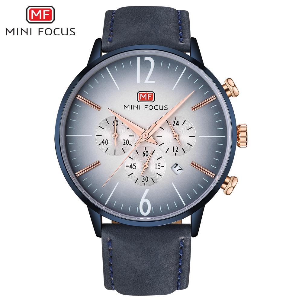 MINIFOCUS Correa de cuero de negocios de los hombres Reloj de cuarzo Deportes Hombres Relojes Moda Casual Hombre Reloj de cuarzo Relogio masculino