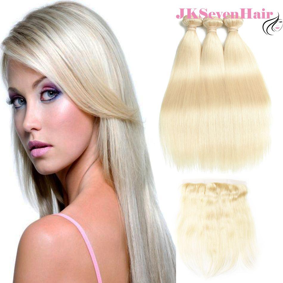 Droite Blonde Couleur Vierge Brésilienne Cheveux Bundles 3PCS Avec Dentelle Frontale Russe Européenne Remy Cheveux Weaves Densité 130
