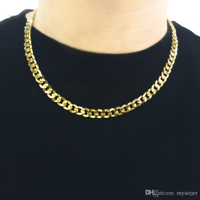 minorista online 37195 0e5e2 Compre Cadenas De Oro Para Hombre 24 K Chapado En Oro Hombres Collar  Hombres Collar 55 Cm Hombres Joyería Encanto Fábrica Al Por Mayor A $6.62  Del ...