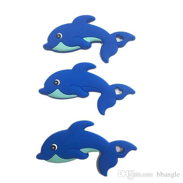Baby Silicone Dolphin Teether Food Silicone Crib Sensory Toys Teething Beads Chewable Pendant DIY Nursing Accessories