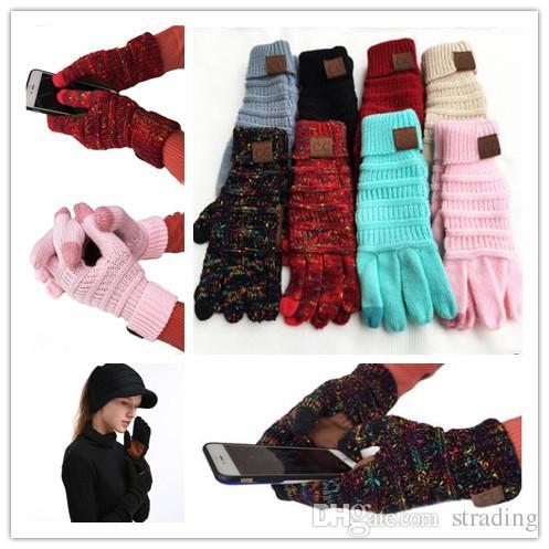 CC Knitting toque Luva Tela CC Homens Mulheres Winter Luvas de lã quente antiderrapante malha Telefingers capacitivos Luvas Presentes de Natal da DHL