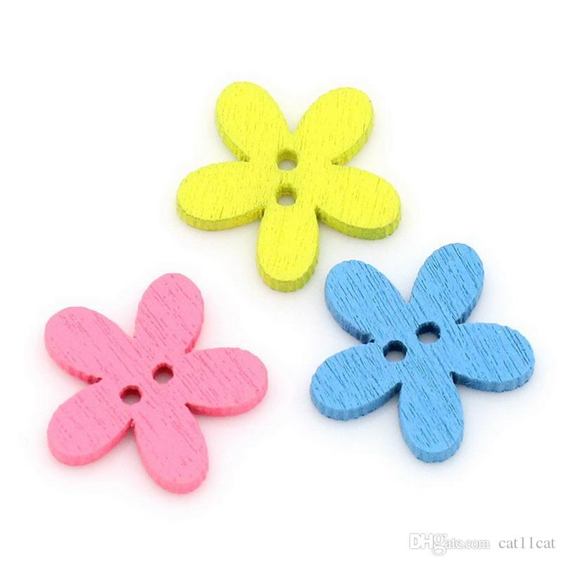 Wholesale Natural Wooden Colorful Mixed Flowers Buttons Scrapbooking Sewing Accessories For DIY Craft 2 Holes