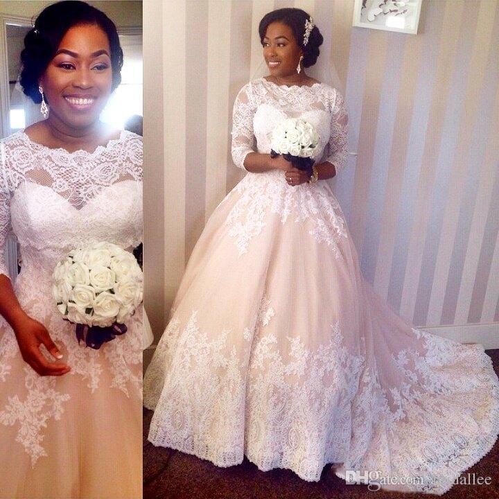 Robes de mariée africaines Robes de mariée Robes de soirée en dentelle blanche et tulle pêche robe de soirée avec Illusion 3/4 Manches longues Tribunal Train de mariée