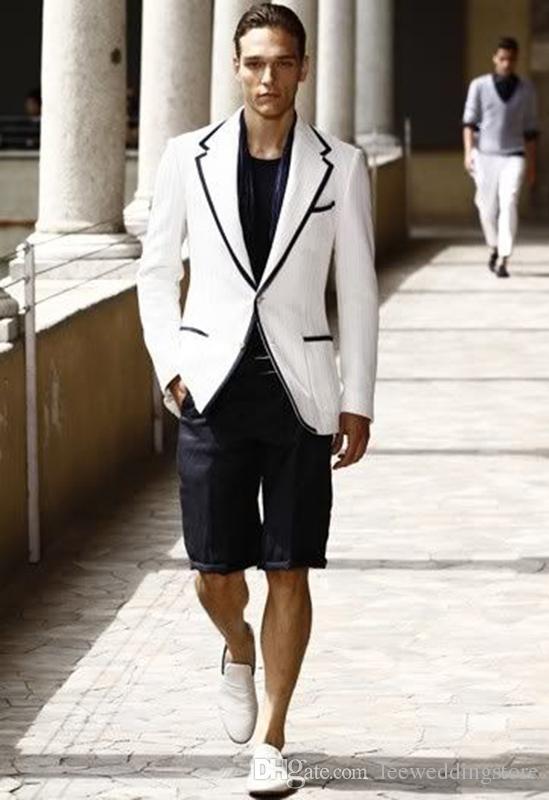 Custom Made Men Suit Bianco Nero Corti Pantaloni da sposa Abiti slim fit casuale Summer Beach Semplice Uomini Blazer Prom smoking 2Pieces Jacket + Pants