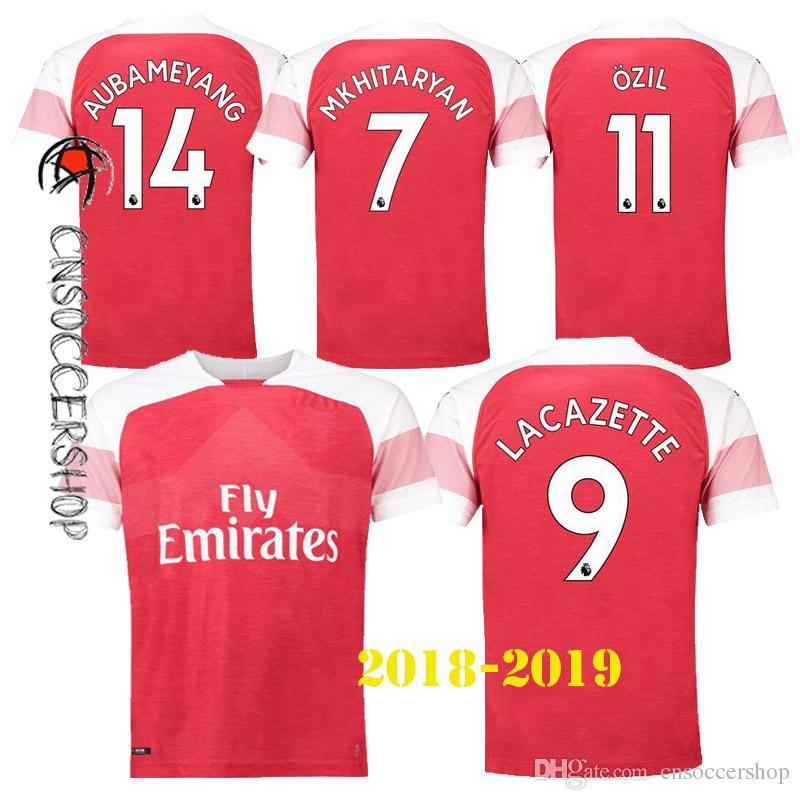 the best attitude 5c7b9 165d7 2018 NEW Arsenal 2018 2019 Jerseys Home Jersey OZIL AUBAMEYANG GIROUD  LACAZETTE XHAKA MKHITARYAN Jersey Football Shirt Perfect Quality Kit From  ...