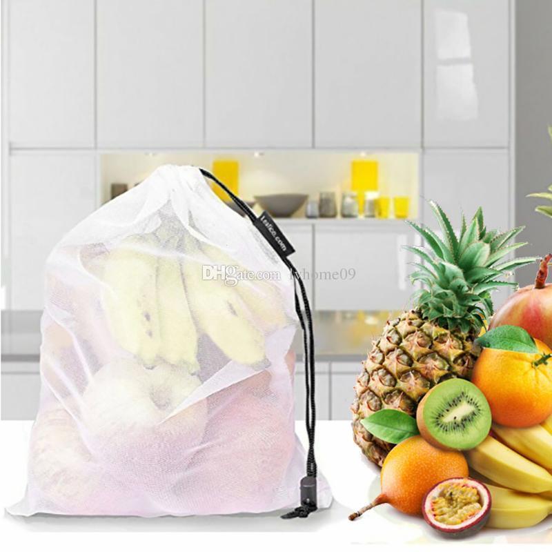 5Pcs Reusable Produce Bags Mesh Fruit/& Vegetable Bag Drawstring Storage Bags Set