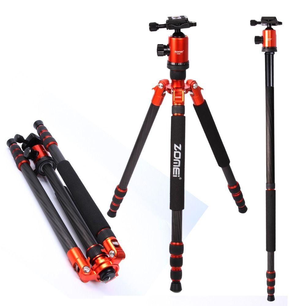 Flagship ZOMEI treppiede Arancione Z818C Viaggio professionale Treppiede per fotocamera in fibra di carbonio Monopiede Testa a sfera con custodia per fotocamera DSLR