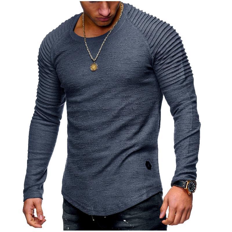 2018 الخريف الرجال كم طويل تي شيرت عارضة O عنق مخطط أضعاف مطاطا صالح T قميص الرجال الصلبة التي شيرت الهيب هوب القمم 3XL